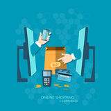 E-commerce NFC payment online shopping with credit card Stock Photography