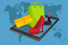 E-commerce. Online internet shopping, fashion, vector illustration Royalty Free Stock Images