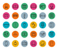 E-commerce. Online shop linear icons set. Vector line art symbols in circle  on white Stock Photo