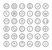 E-commerce. Online shop linear icons set. Vector line art symbols in circle  on white Royalty Free Stock Photo
