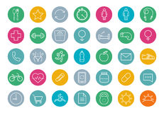E-commerce. Online shop linear icons set. Vector line art symbols in circle  on white Stock Image