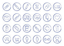 E-commerce. Online shop linear icons set. Vector line art symbols in circle  on white Stock Images