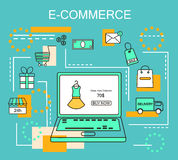 E-Commerce and Online Shopping Business. Internet and mobile marketing concept. For web and mobile phone services and apps.Vector. Line Illustration.Eps 10 Stock Photo