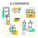 E-Commerce and Online Shopping Business. Internet and mobile marketing concept. For web and mobile phone services and apps.Vector. Line Illustration. Eps 10 Stock Photos