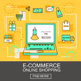 E-Commerce and Online Shopping Business. Internet and mobile marketing concept. For web and mobile phone services and apps.Vector. Line Illustration. Eps 10 Stock Images