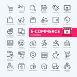 E-commerce, online shopping and delivery elements web icon set - outline icon set stock illustration