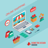 E-commerce and online shopping. Flat 3d isometric. Design. Infographic concept with place for text. Vector illustration vector illustration