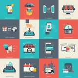 E - commerce and online shopping icon set. Flat vector. Illustration Stock Photos