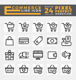 E-commerce and Online Shopping Icons. Set of E-commerce and Online Shopping Icons Base on 24 Pixel Grids. This icons created on pixel perfect workflow. Vector Stock Images