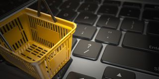 E-commerce, online shopping, internet purchases concept. Yellow royalty free illustration