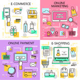 E-Commerce Online Shopping,Marketing,Online Payment Banners. Business. Internet and mobile marketing concept. For web and mobile p. Hone services and apps.Vector Stock Photo
