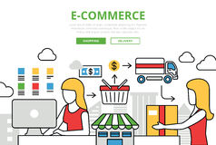 E-commerce online shopping sale delivery vector flat line art. E-commerce online shopping sale delivery concept flat line art vector icons. Modern website stock illustration