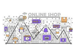 E-commerce, online shopping vector flat line art illustration. E-commerce business concept vector illustration. Modern thin line art flat style design element Royalty Free Stock Photo