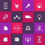 E-commerce, online shopping web icons on squares, pictograms for e-commerce website Stock Photos