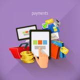 E-commerce and payments, vector illustration Royalty Free Stock Images