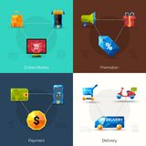 E-commerce Polygonal Icons Royalty Free Stock Photo