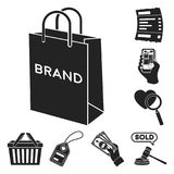 E-commerce, Purchase and sale black icons in set collection for design. Trade and finance vector symbol stock web. E-commerce, Purchase and sale black icons in Stock Photos