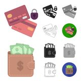 E-commerce, Purchase and sale cartoon,black,flat,monochrome,outline icons in set collection for design. Trade and. Finance vector symbol stock  illustration Royalty Free Stock Images