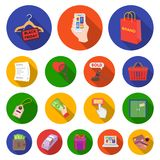E-commerce, Purchase and sale flat icons in set collection for design. Trade and finance vector symbol stock web. E-commerce, Purchase and sale flat icons in set Stock Photography