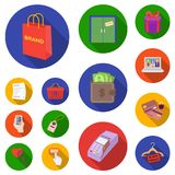 E-commerce, Purchase and sale flat icons in set collection for design. Trade and finance vector symbol stock web. E-commerce, Purchase and sale flat icons in set Royalty Free Stock Images