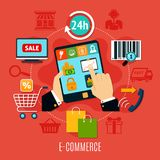 E-commerce Round Composition Royalty Free Stock Photo