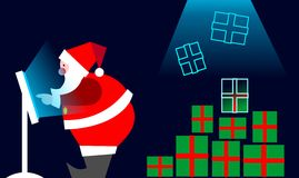 E-commerce: Santa Claus Buying on line Royalty Free Stock Images