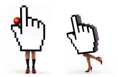 E-commerce series: Hands cursor temptation Royalty Free Stock Photo