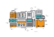 E-commerce services line style illustration Stock Images
