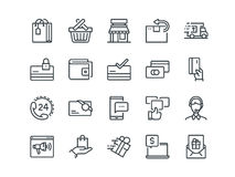 E-commerce. Set of outline vector icons. Includes such as Shopping, Promotion, Support and other. Editable Stroke. 48x48. Pixel Perfect Royalty Free Stock Image