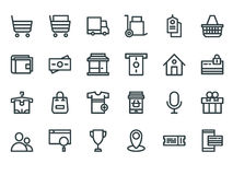 E-commerce. Set of outline web icons. E-commerce. Outline web icons set on a white background Royalty Free Stock Photography