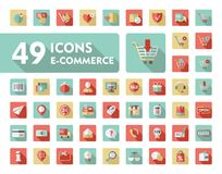 E-commerce set vector icons shopping and online Royalty Free Stock Images