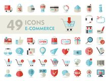 E-commerce set vector icons shopping and online Stock Photo