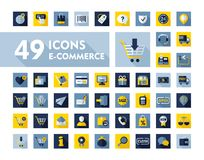 E-commerce set vector icons shopping and online Stock Photos