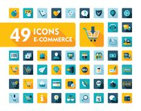 E-commerce set vector icons shopping and online Royalty Free Stock Photos
