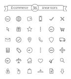E-commerce. Shop linear icons set. Vector line art symbols Royalty Free Stock Photo
