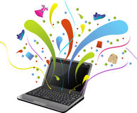 E-Commerce Shopping. A world of joy through e-commerce stock illustration