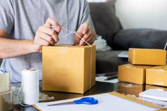 E-commerce shopping company concept, business entrepreneur seller prepares the delivery box for the customer. E commerce shopping company concept, business stock photos