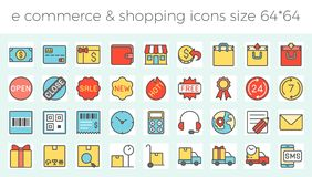 E commerce, shopping and delivery icons set. For online business in website and apps size  64 pix build with grid, such as call center, delivery, sales Stock Photo