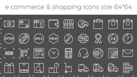 E commerce, shopping and delivery icons set. For online business in website and apps size  64 pix build with grid, such as call center, delivery, sales Royalty Free Stock Photo