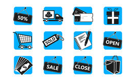 E-commerce and shopping icon set. Vector illustration - E-commerce and shopping icon set Stock Image