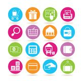 E commerce and shopping icons. Set of 16 e commerce and shopping icons in colorful buttons Royalty Free Stock Photography