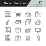 E-commerce and Shopping online icons. Modern line design set 17. For presentation, graphic design, mobile application, web design, infographics. Vector Stock Images
