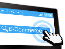 E Commerce Shows World Wide Web And Purchasing Royalty Free Stock Photos
