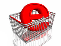 E-commerce sign in basket Stock Photos