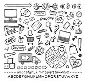 E-commerce sketch icons . Hand drawn sketch icons isolated on white background.. E-commerce. Online shopping royalty free stock photography