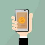 E-commerce in smart phone on Businessman hand.Business Concept Stock Photography