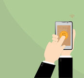E-commerce in smart phone on Businessman hand. Royalty Free Stock Photography