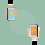 E-commerce in smart phone on two Business hand.Business Concept Royalty Free Stock Photography