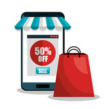 E-commerce smartphone discount buy isolated Stock Photo