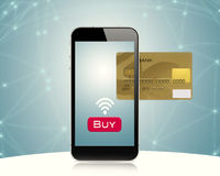 E.commerce. Smartphone displaying image of credit card.Digital composite Royalty Free Stock Image